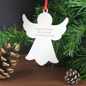 Personalised Steel Tree Decoration - Star, Reindeer or Angel
