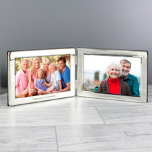 Load image into Gallery viewer, Personalised Double 6x4 Silver Photo Frame
