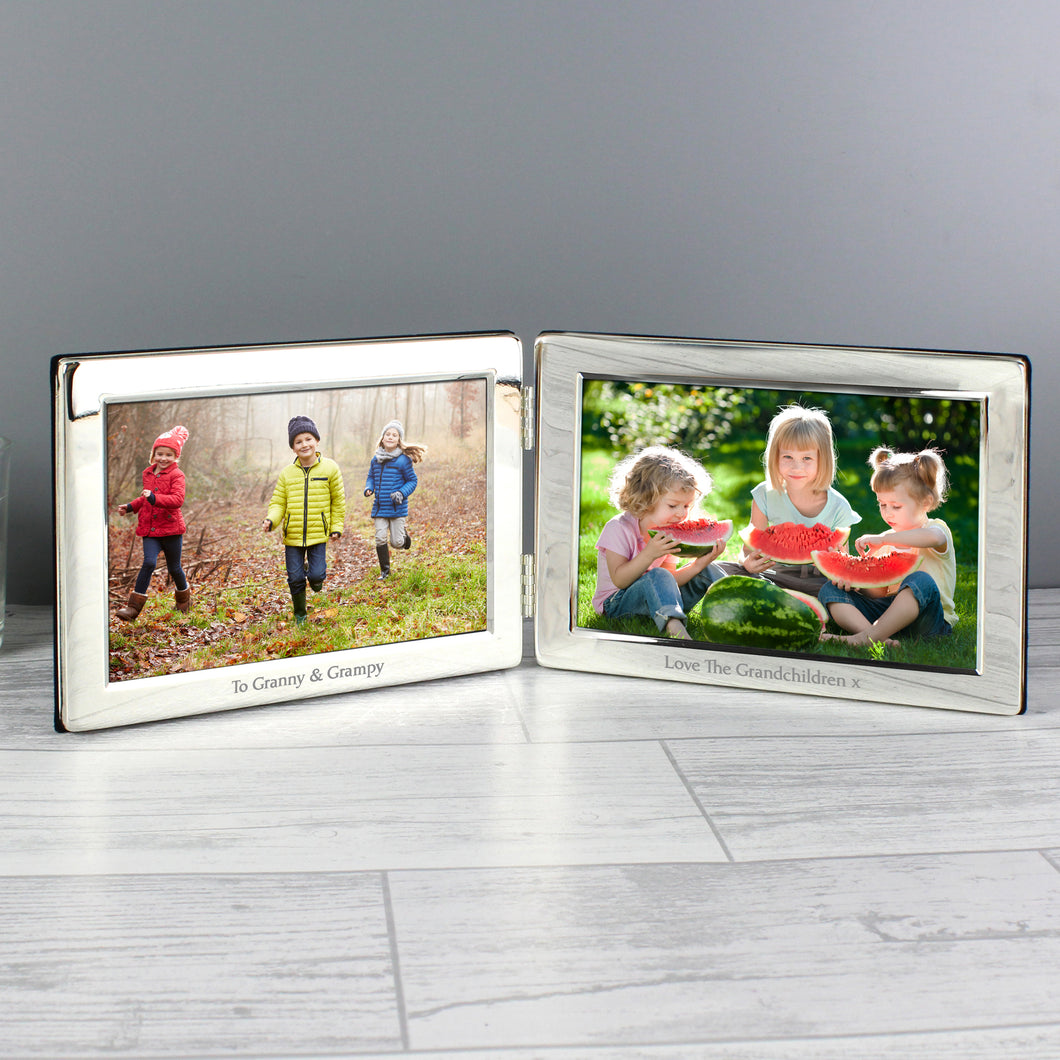 Personalised Double 6x4 Silver Photo Frame