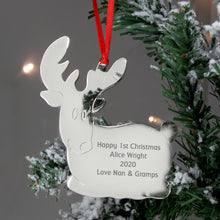 Load image into Gallery viewer, Personalised Steel Tree Decoration - Star, Reindeer or Angel