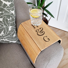 Load image into Gallery viewer, Personalised Initials Wooden Sofa Tray
