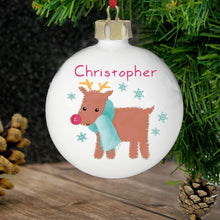 Load image into Gallery viewer, Felt Stitch Design Personalised Bauble, Gingerbread Man or Reindeer