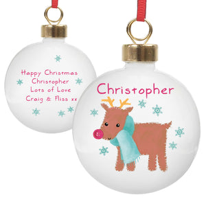 Felt Stitch Design Personalised Bauble, Gingerbread Man or Reindeer