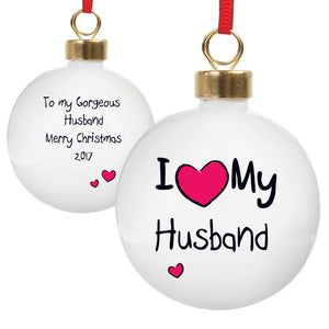 I Heart Personalised Bauble