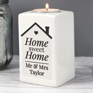Personalised Home Sweet Home Ceramic Tea Light Candle Holder