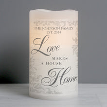 Load image into Gallery viewer, Personalised Love Makes a Home LED Candle