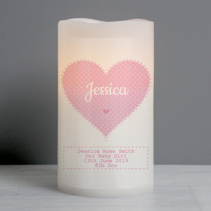 Personalised Stitch & Dot Baby Nightlight LED Candle - Pink or Blue