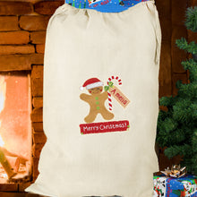Load image into Gallery viewer, Personalised  Cotton Christmas Sack - Gingerbread Man or Santa