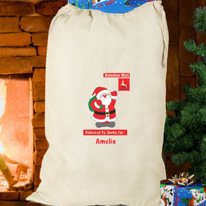 Personalised  Cotton Christmas Sack - Gingerbread Man or Santa
