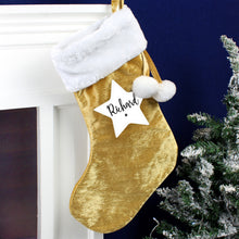 Load image into Gallery viewer, Personalised Star Luxury Gold Stocking