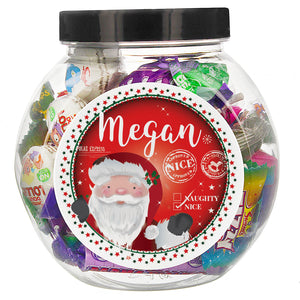 Personalised Santa 'Nice list' Sweet Jar