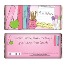 Load image into Gallery viewer, Personalised Teacher Milk Chocolate - Pink or Blue wrapper
