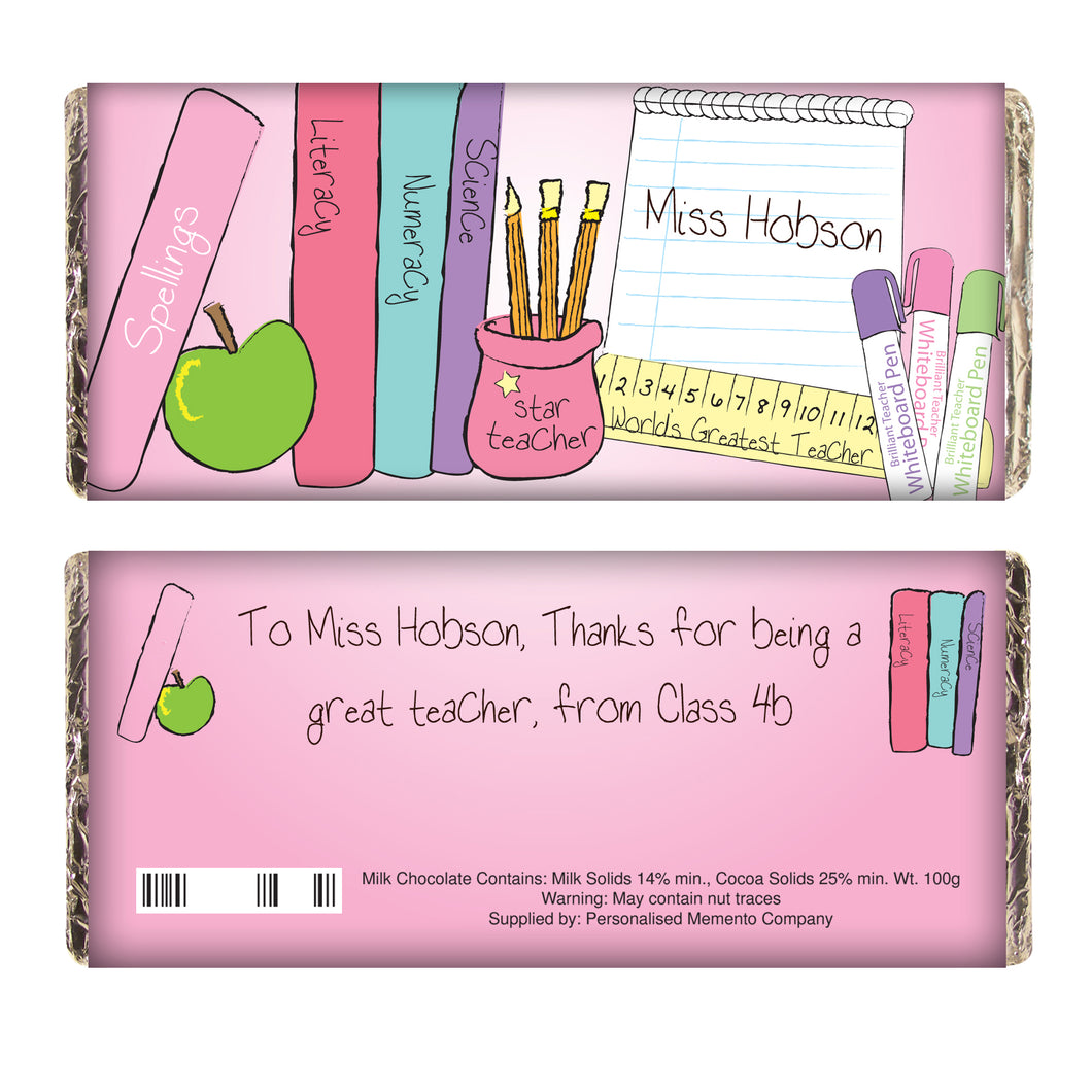 Personalised Teacher Milk Chocolate - Pink or Blue wrapper