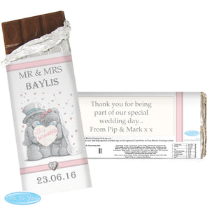 Personalised 'Me To You' Wedding Couple Milk Chocolate Bar