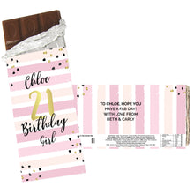 Load image into Gallery viewer, Personalised Birthday Gold and Pink Stripe Milk Chocolate Bar
