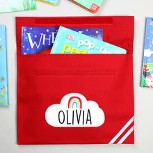 Load image into Gallery viewer, Personalised Rainbow Red or Blue Book Bag
