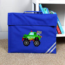 Load image into Gallery viewer, Personalised Monster Truck Red or Blue Book Bag