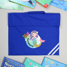 Load image into Gallery viewer, Personalised Mermaid Red or Blue Book Bag