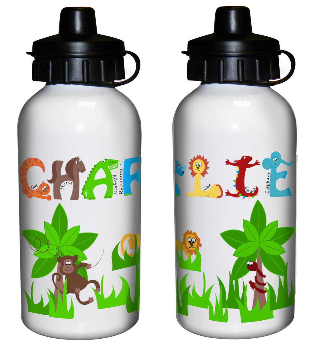 Personalised Animal Alphabet Drinks Bottle - Blue or Pink