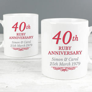 Personalised Anniversary Mug Set  25th, 40th or 50th Anniversary
