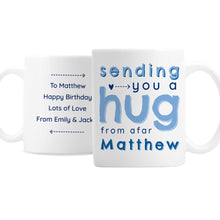 Load image into Gallery viewer, Personalised Hug From Afar Mug in Blue or Pink