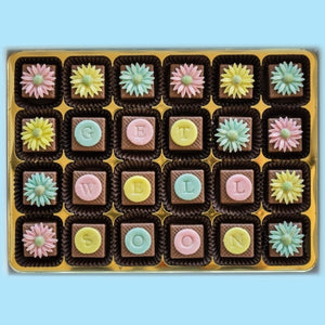 Personalised Pastel Daisies Marzipan Chocolates
