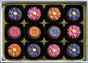 Personalised Bright Daisies Marzipan Chocolates Box of 48