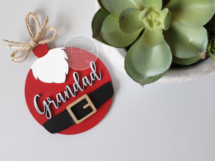 Santa Personalised Bauble Shaped Decoration