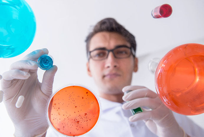 chemist working with chemicals