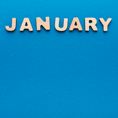 Blue background with the word January at the tiop of the image