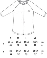 Size chart for Emotional Being 3/4 sleeve T-shirt