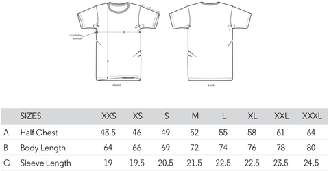 Size guide for Roo Betty Subtle Tee Unisex Tee