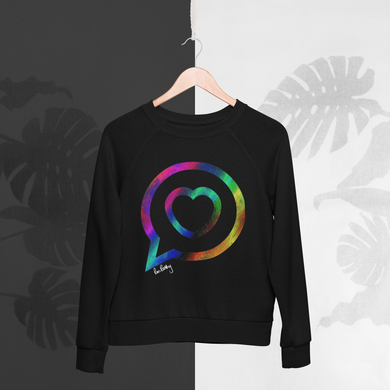 Black organic cotton sweatshirt with the Roo betty logo of a heart in a speech bubble in rainbow print