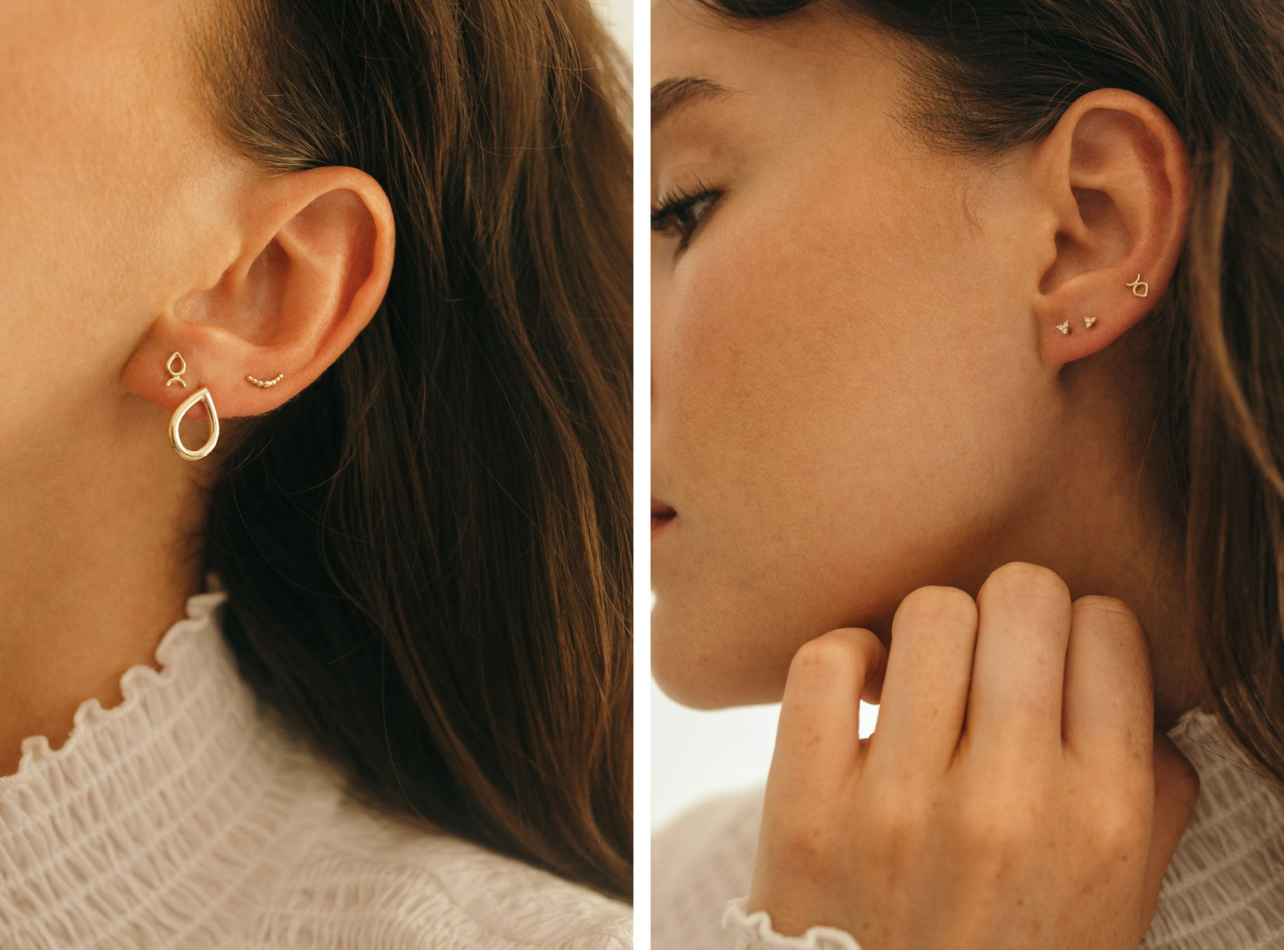 Ally wears (left to right): Leotie Studs, Small Dena Studs, Crescent Studs, Kalani Studs and Leotie Studs.