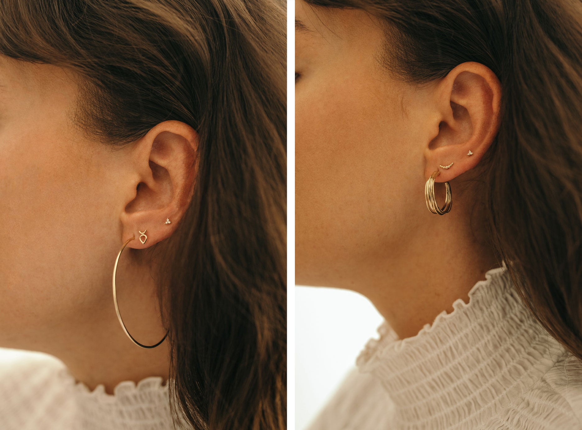 Ally wears (left to right): Small Open Hoops, Leotie Studs, Kalani Studs, Kamali Hoops, Crescent Studs, Kalani Studs.