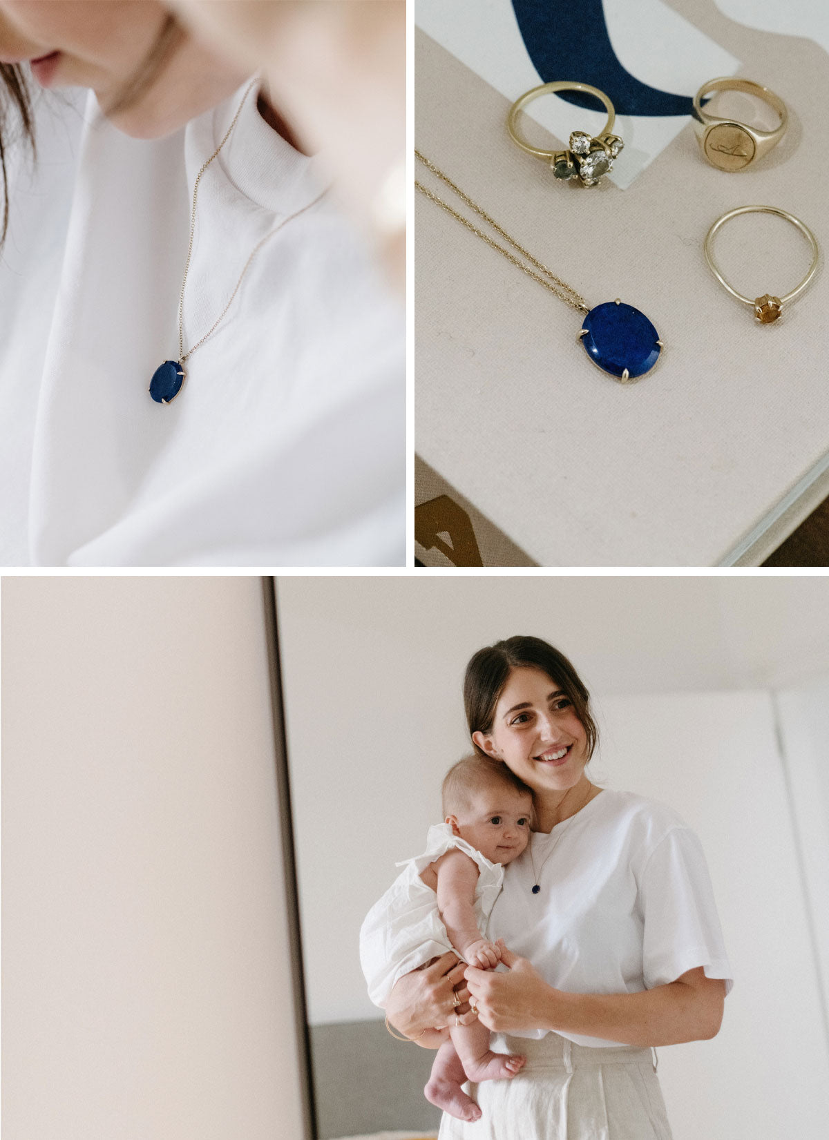 Amanda Bardas wearing the blue Lapis Lazuli Pendant