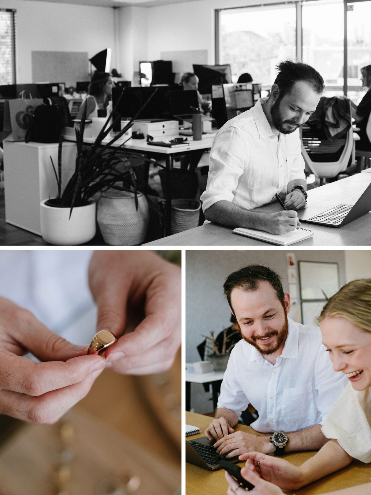 Andrew, sitting at a desk writing in his notebook at the Natalie Marie head office, talking and laughing with a female coworker and showing a rose gold signet ring in the next image
