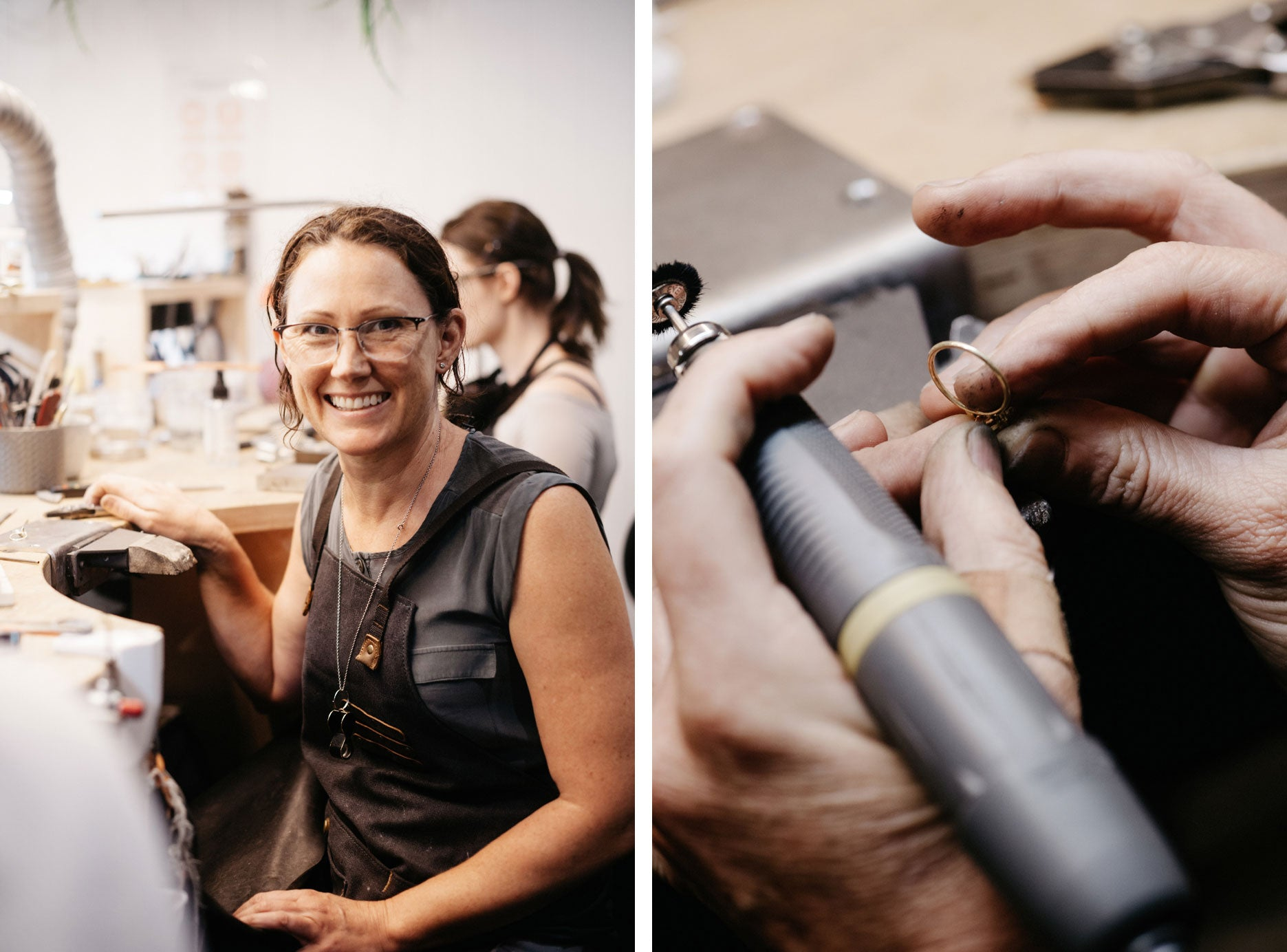 Bronwyn, our Head Jeweller, handcrafting jewellery in the studio.