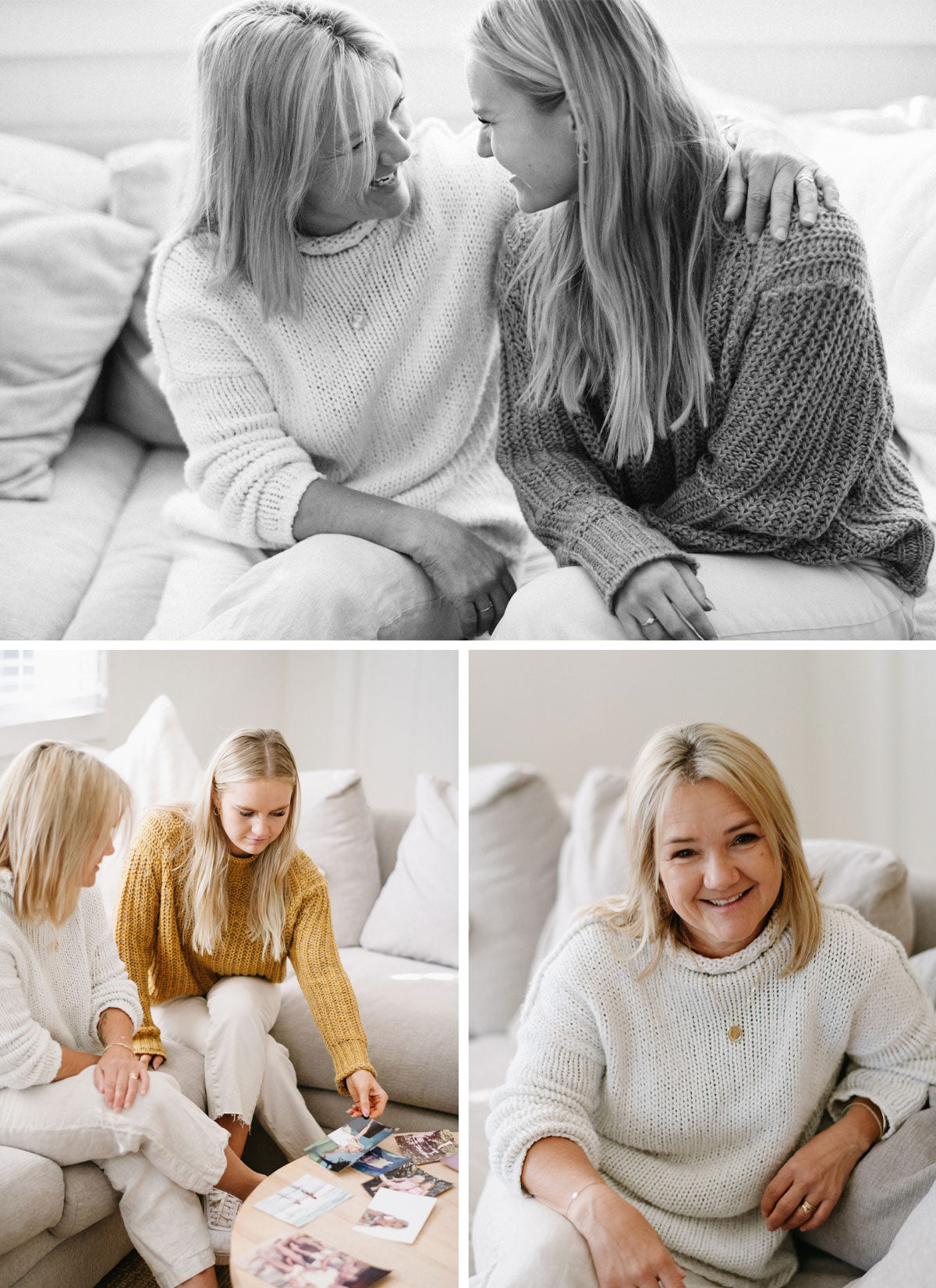 A grid of Julia and her daughter sitting on a cream coloured couch looking at photos and hugging each other