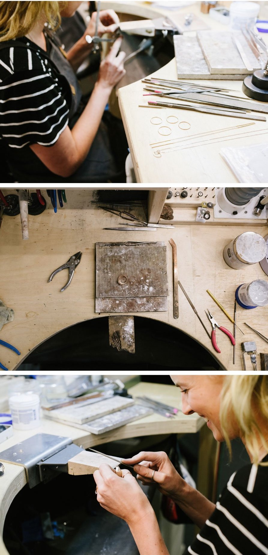 Natalie working at her work bench crafting jewellery