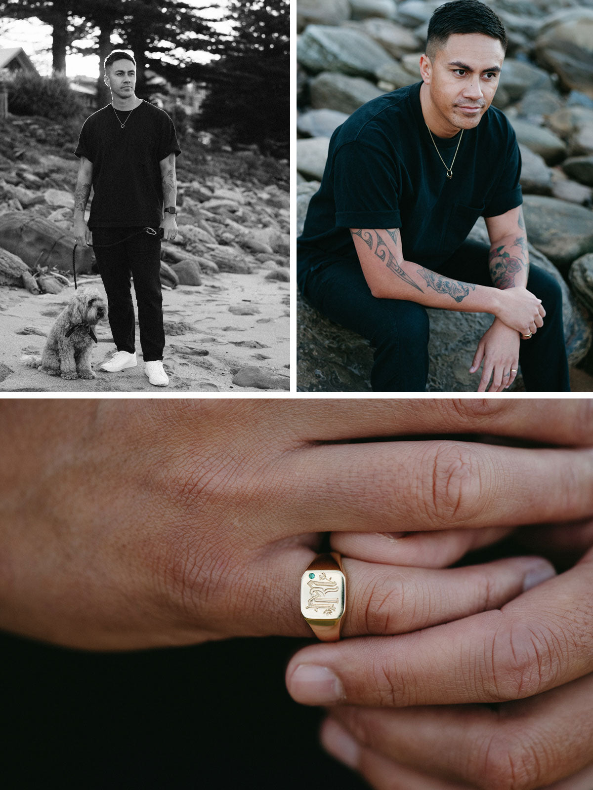 Reeve wearing a black t-shirt and standing at the beach with his dog an a leash and another image of a close up of his yellow gold signet ring