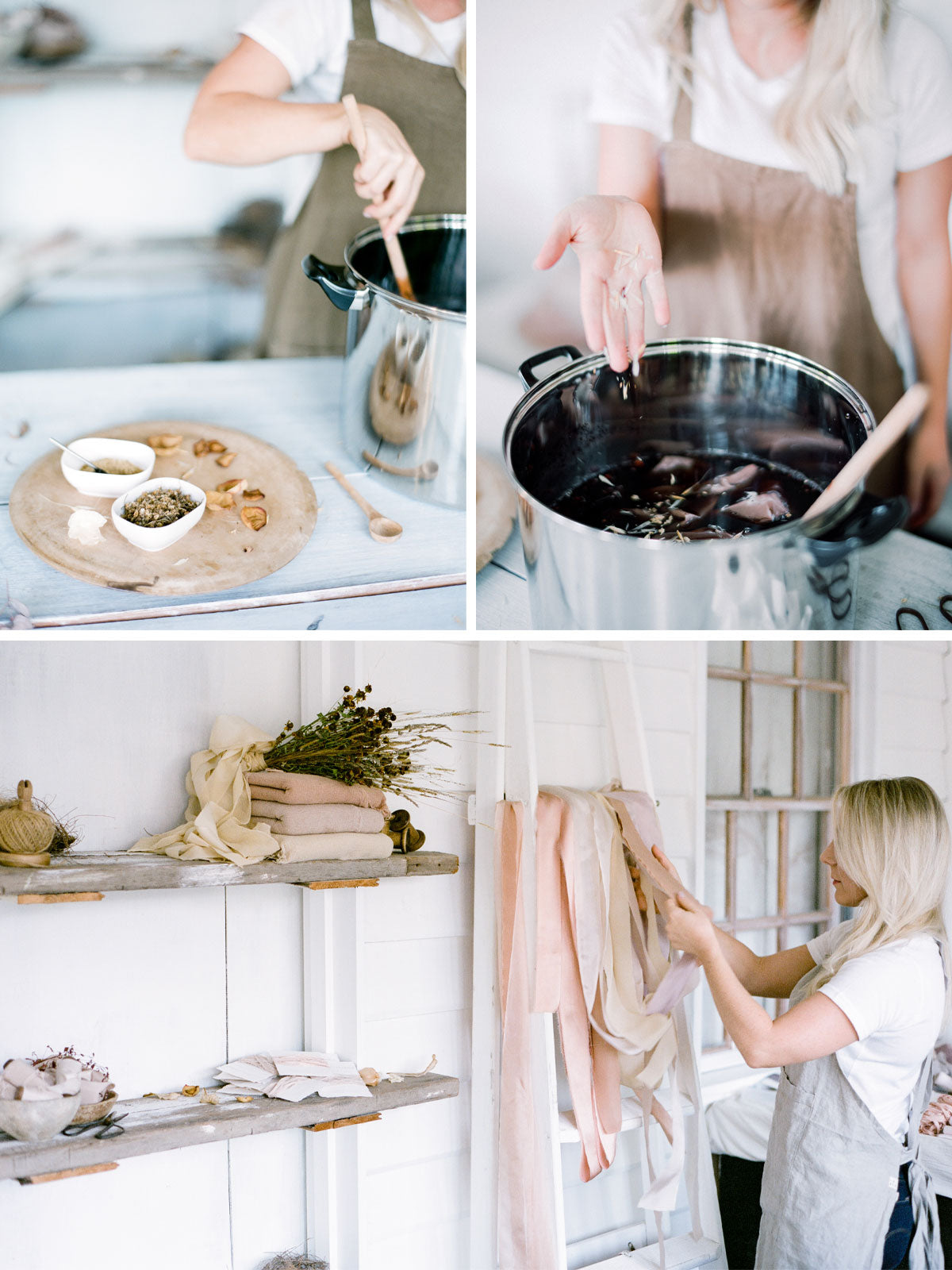 Silk dying process step by step from the natural herbs used to the actual dying and then drying