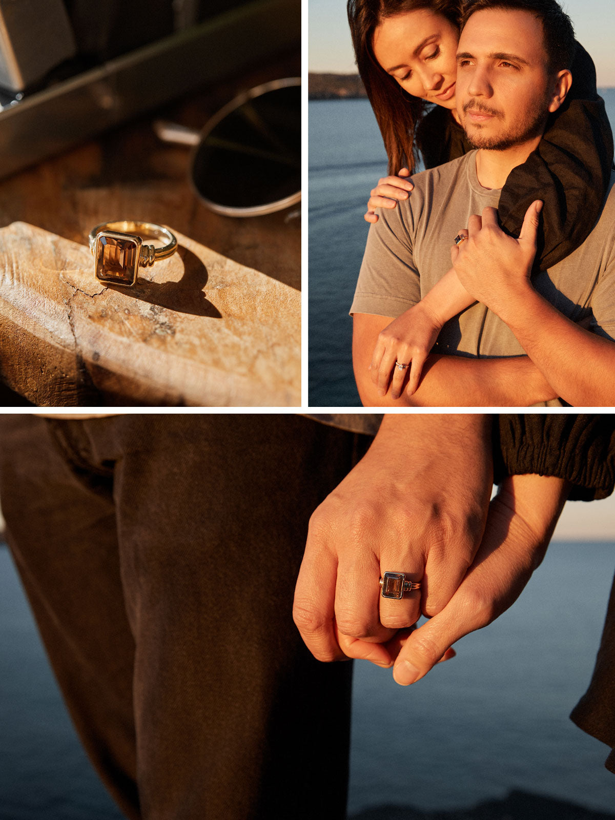 The smokey quartz wedding band displayed on a wooden table and NMJ Lovers Tāne and Amy embracing each other on the next image