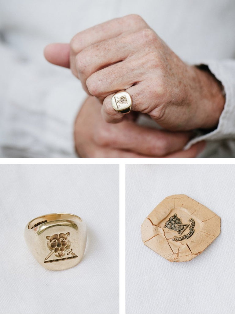 Yellow Gold signet ring with family crest