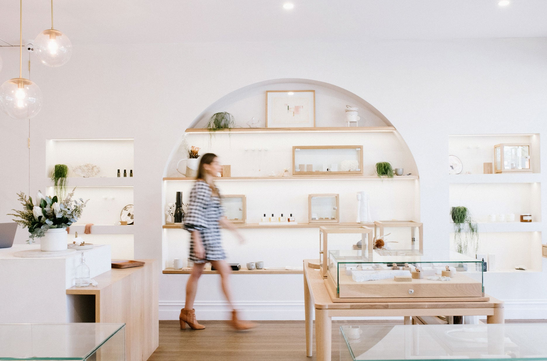Images of Zin, our Bespoke Customer Service Manager and Designer, in the Showroom