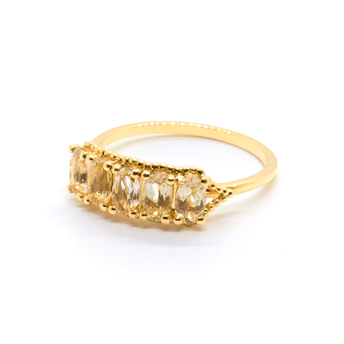 Precious Dotted Oval Stone Wrap Ring