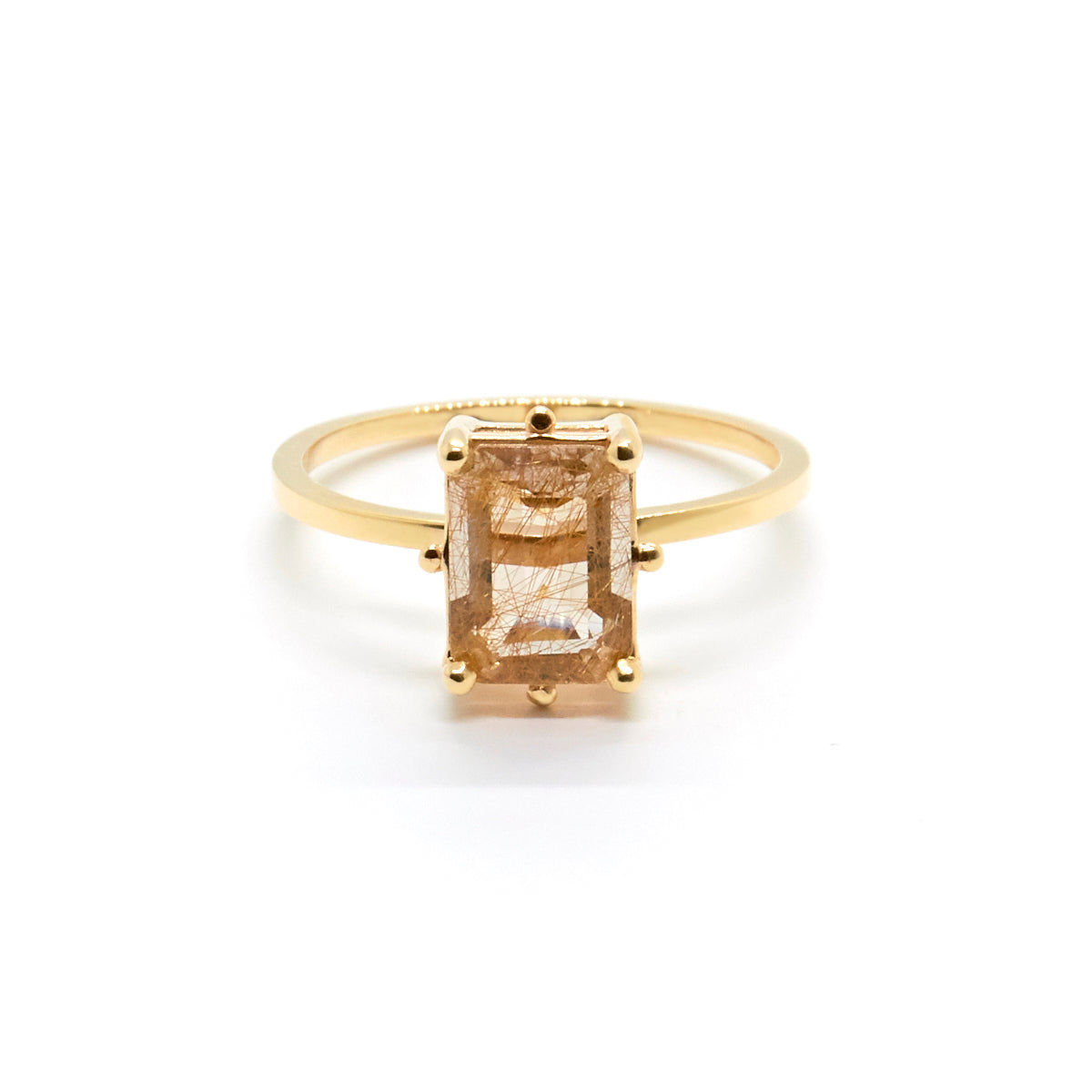 Precious Dotted Emerald cut Solitaire | Rutilated Quartz