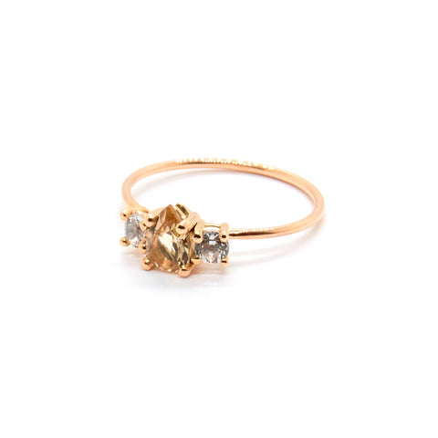 Pear Trio Ring | Champagne Quartz and Topaz