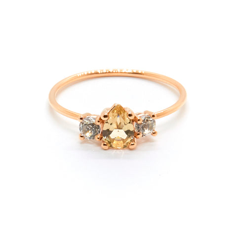 Pear Trio Ring with Savannah Sunstone and Topaz