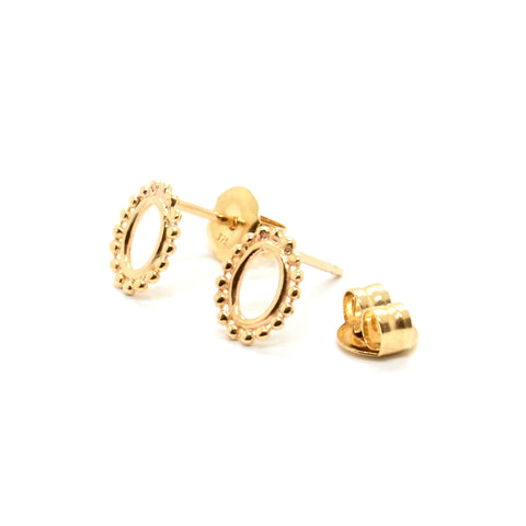 Tiny Dotted Oval Studs